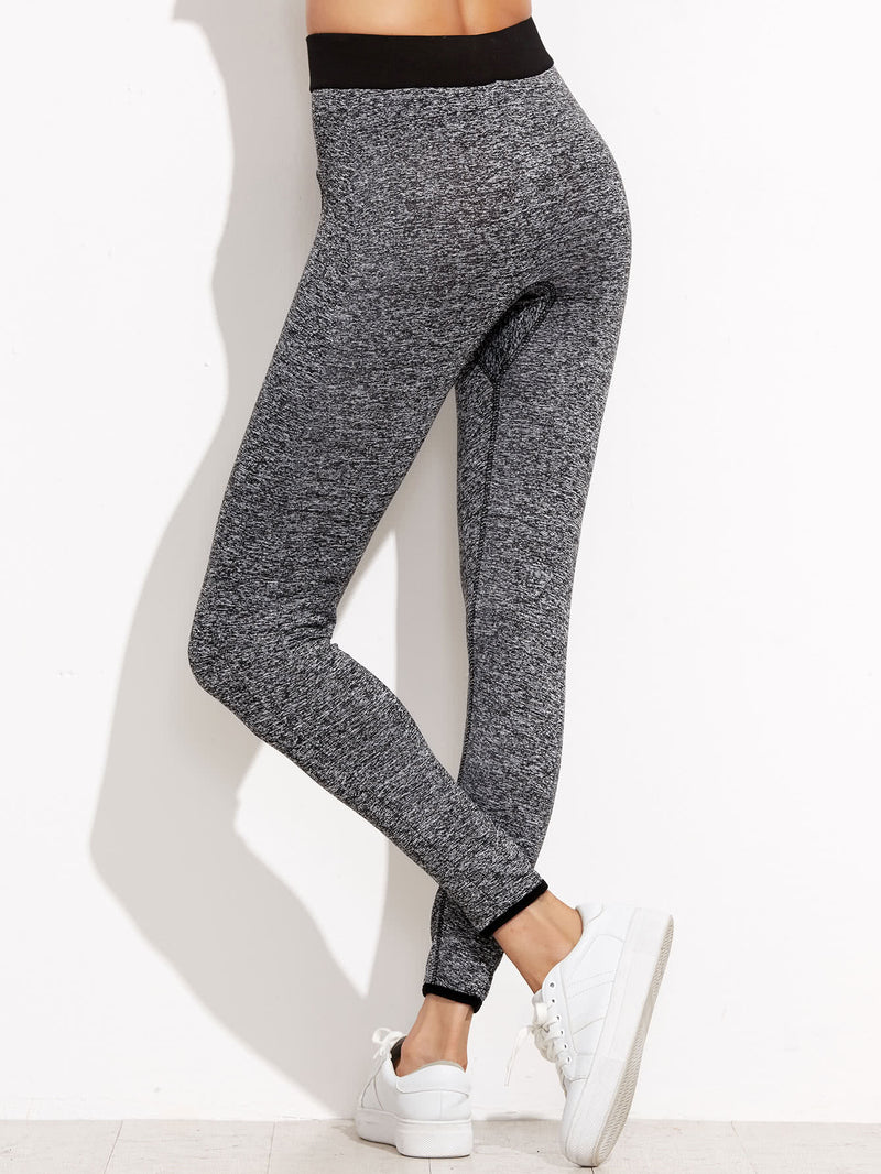 Marled Knit Contrast Binding Leggings