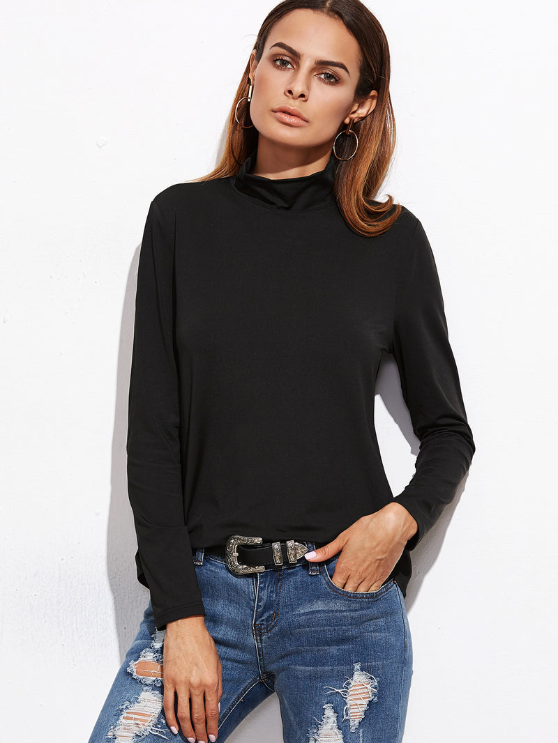 Black Cowl Neck Split Back T-shirt