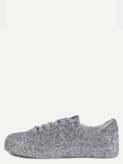 Silver Sequin Leather Low Top Sneakers