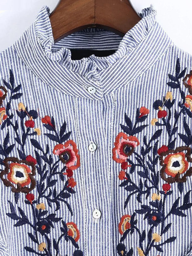 Vertical Striped Flower Embroidered Frill Shirt