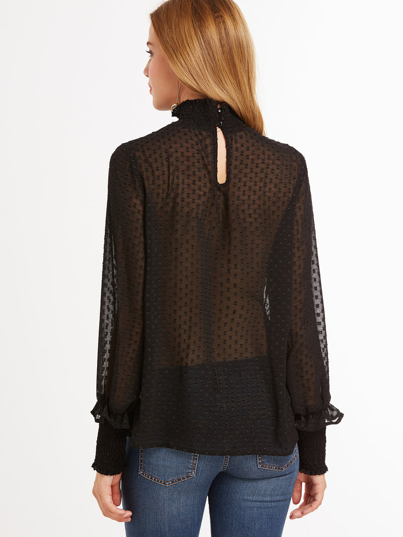Sheer Dotted Blouse With Smocked Detail