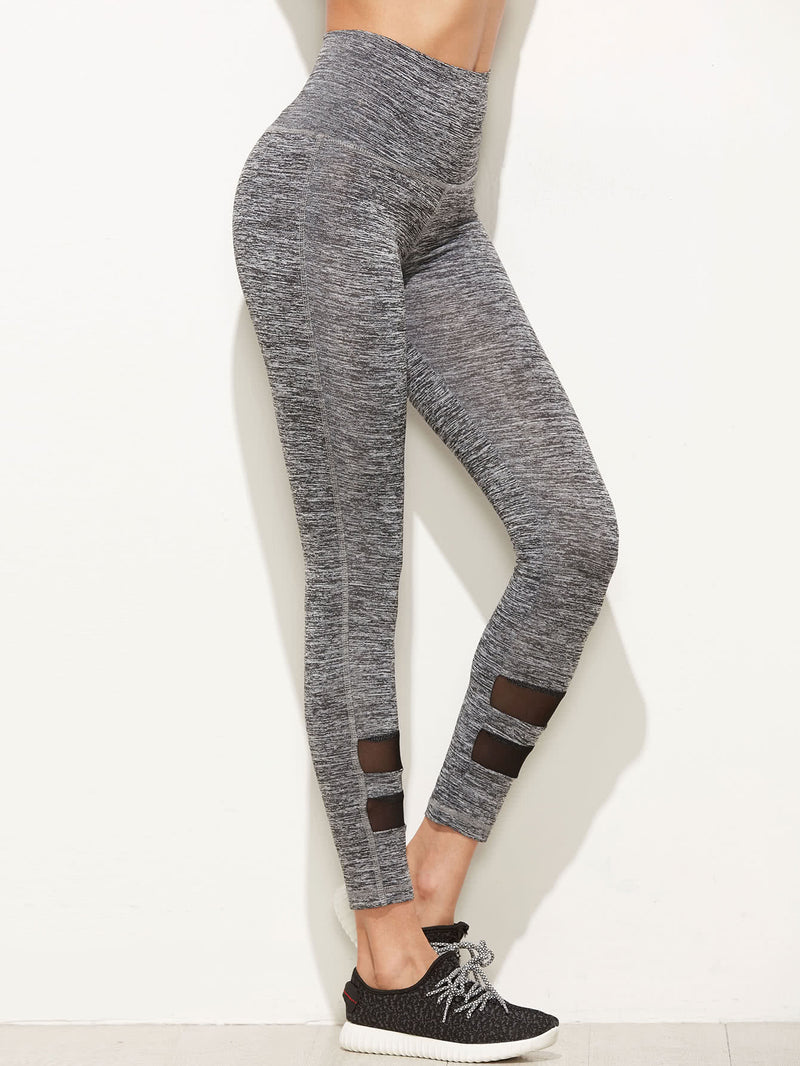 Marled Empire Leggings With Mesh Panel Detail