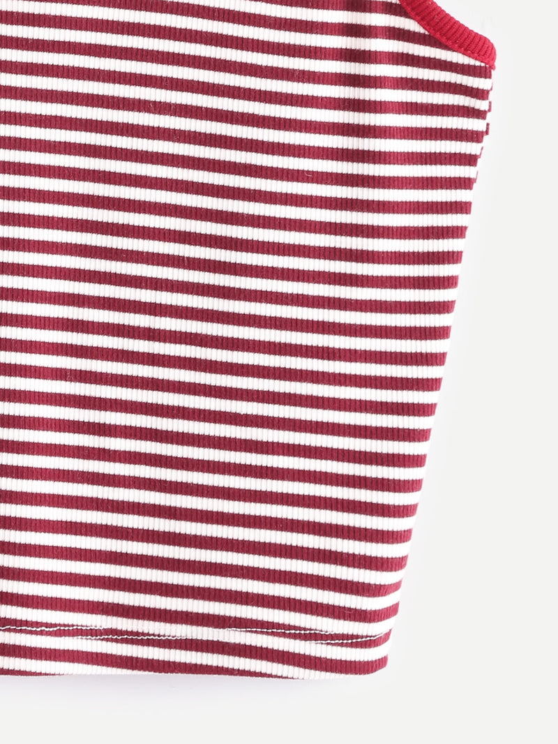 Striped Contrast Binding Crop Cami Top