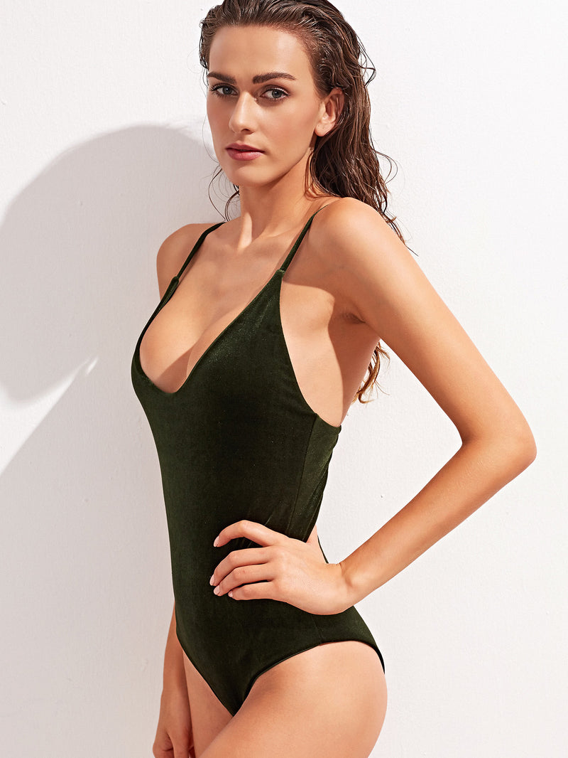 Scoop Neck Cross Back One-Piece Velvet Swimsuit