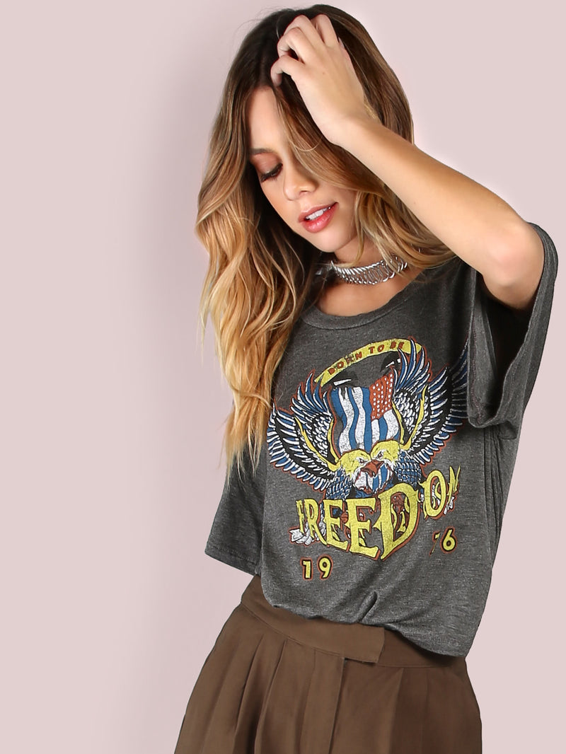 Freedom Graphic Print Crop Top CHARCOAL