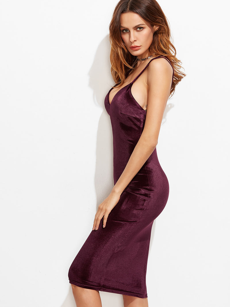 Double Strap Crisscross Back Velvet Pencil Dress