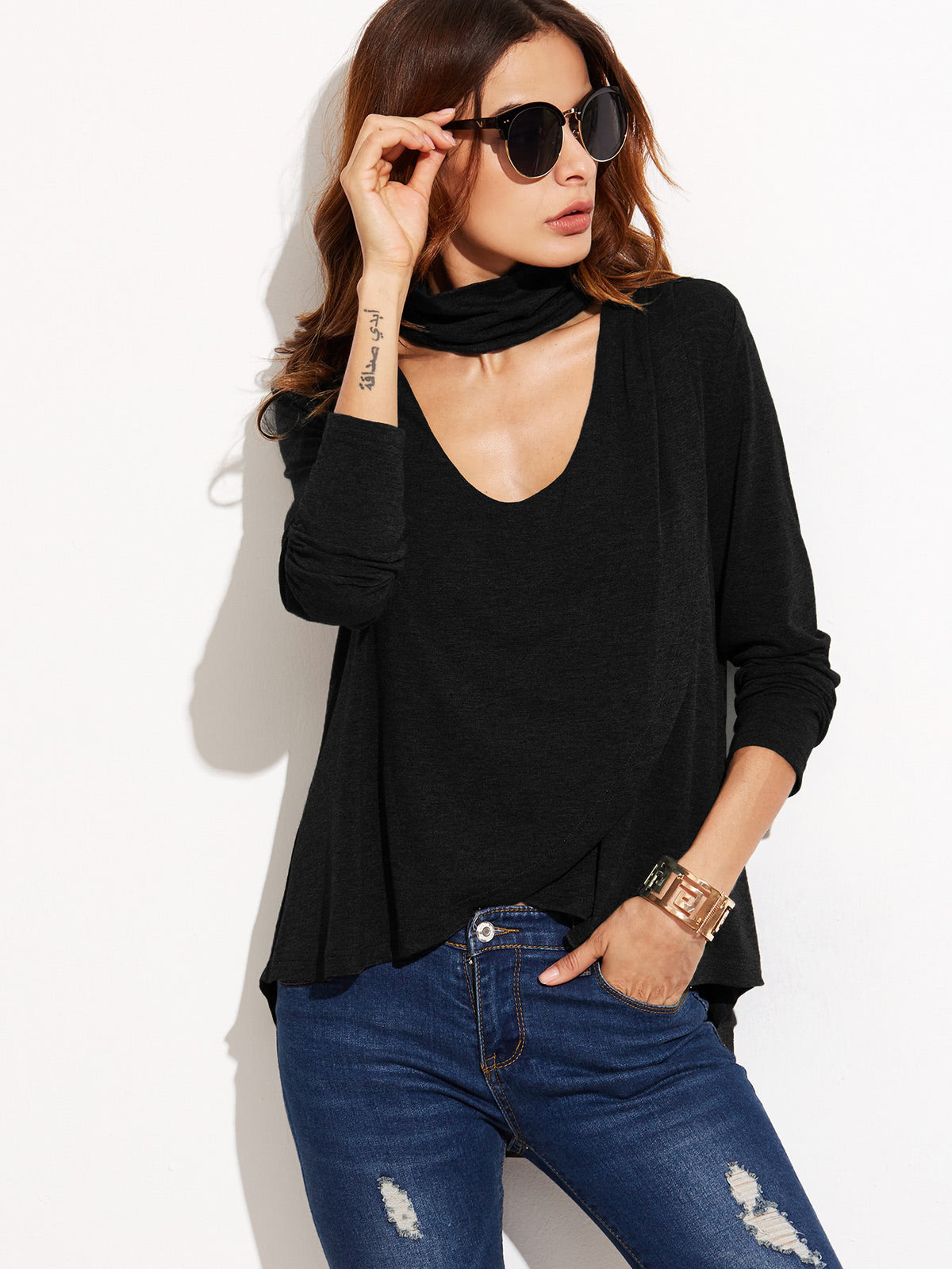 Choker V-Neck Wrap T-shirt With Dip Hem