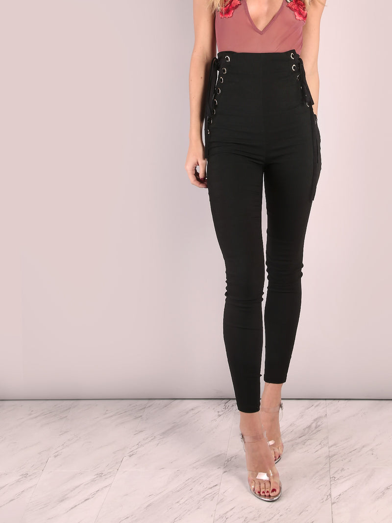 High Waisted Eyelet Strap Skinny Pants