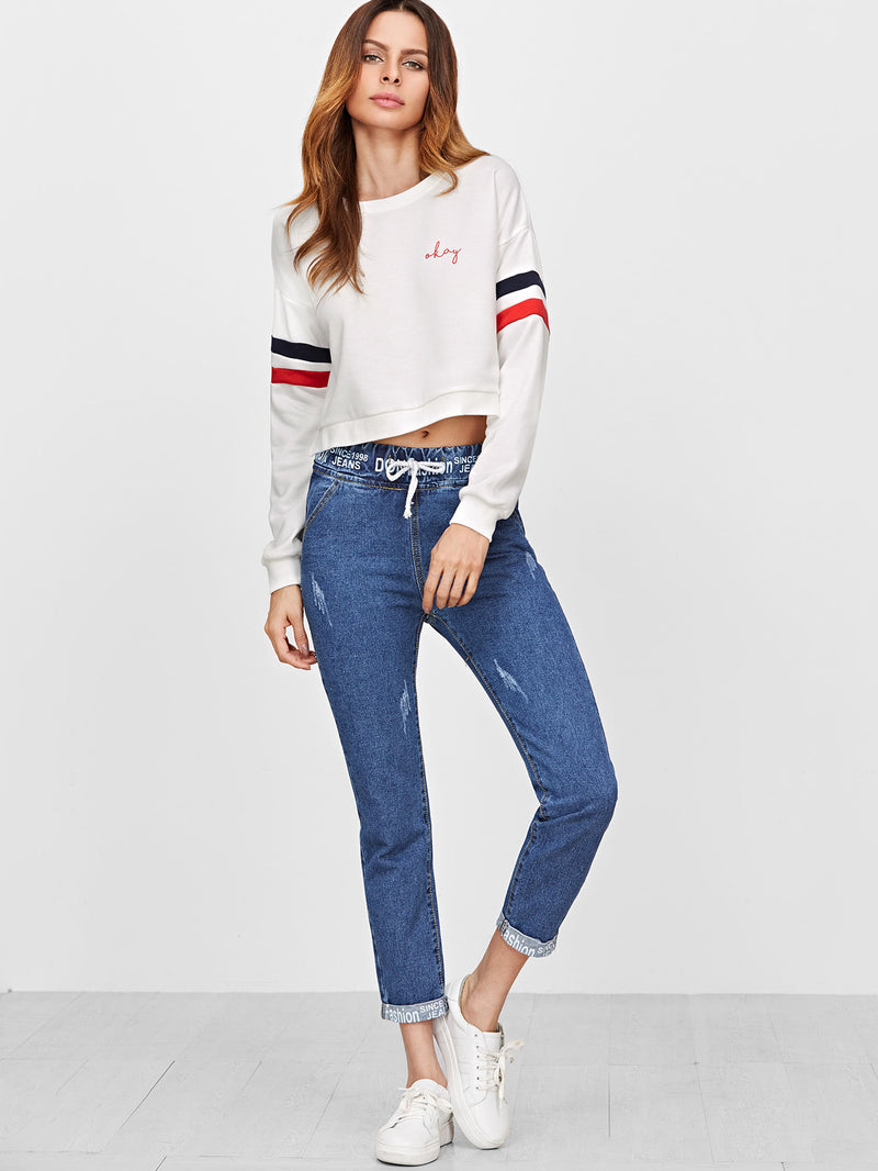 Blue Drawstring Waist Tape Detail Cuffed Jeans