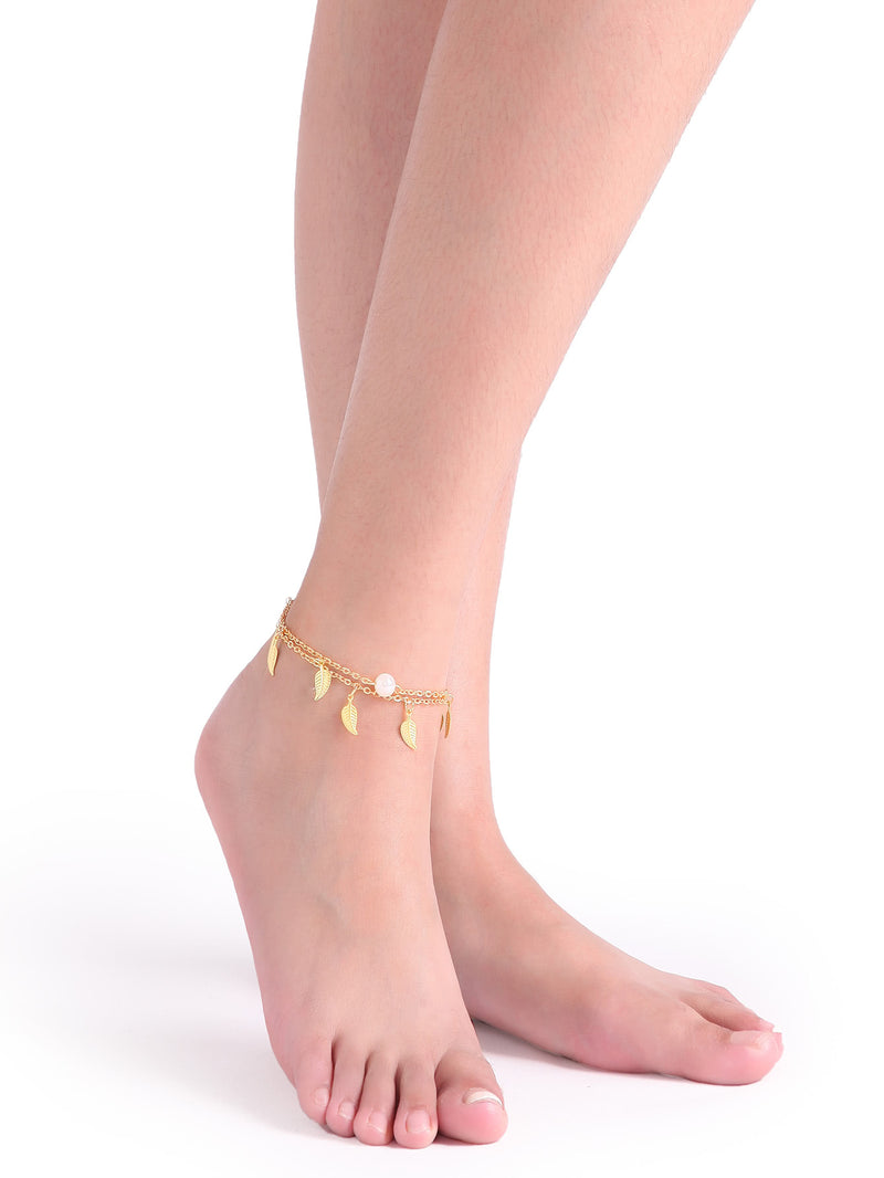 Gold Layered Pearl And Leaf Pendant Single Foot Chain