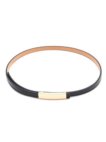 Black Golden Buckle Faux Leather Skinny Belt
