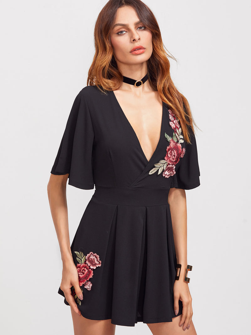 Embroidered Flower Applique Flutter Sleeve Pleated Wrap Romper