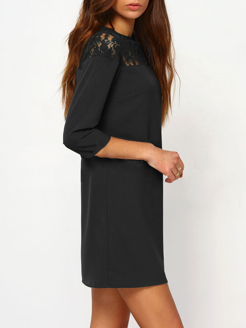 Sheer Floral Lace Yoke Buttoned Keyhole Tunic Dress