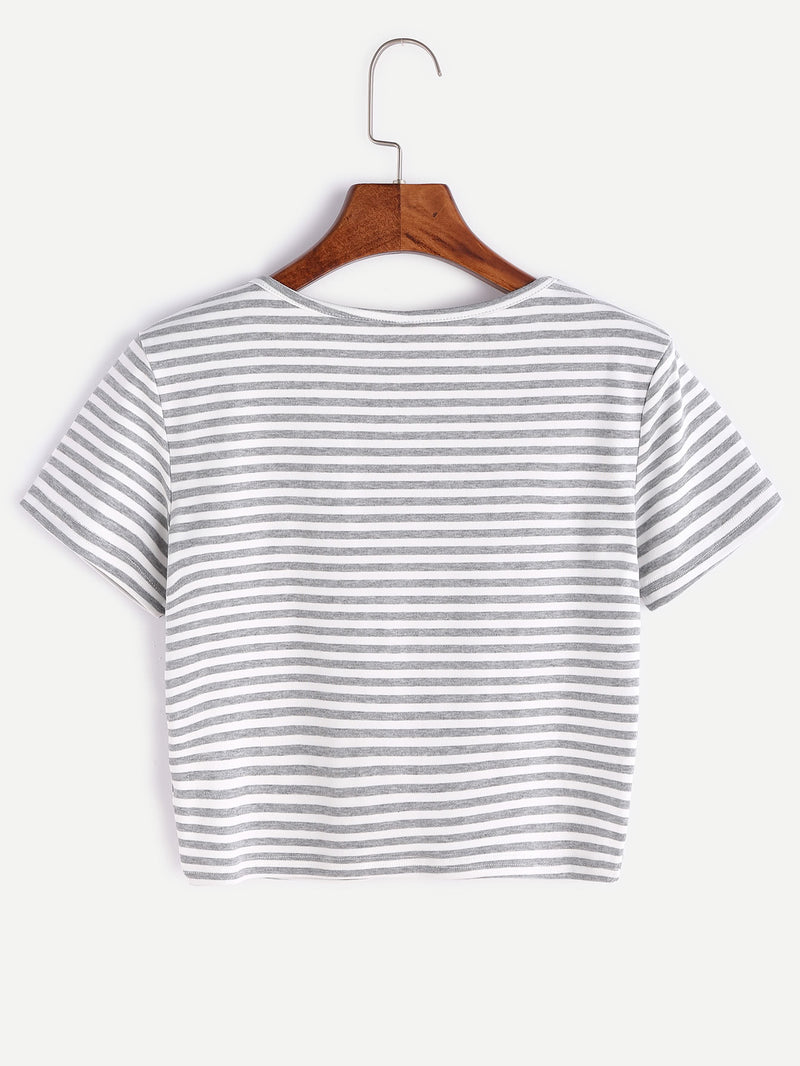 Contrast Striped Crop T-shirt With Buttons