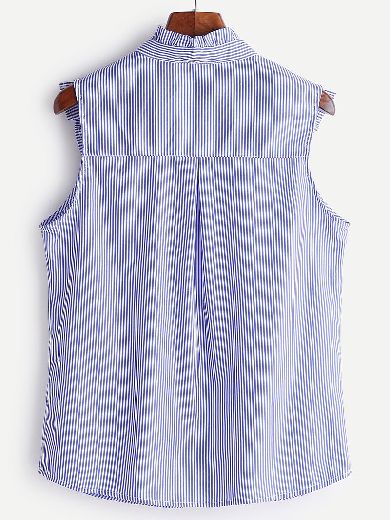 Striped Button Ruffle Trim Embroidered Blouse