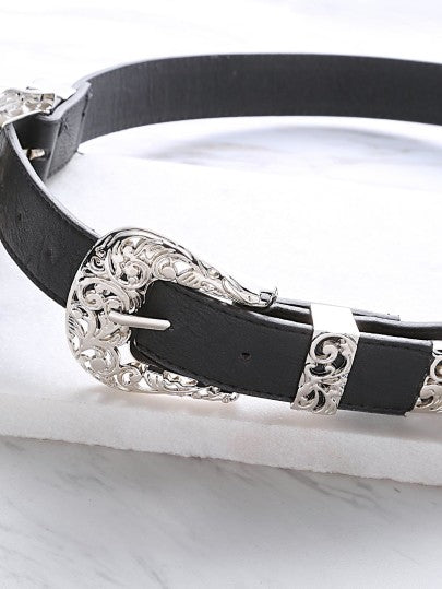 Black Double Vintage Carved Buckle Faux Leather Belt