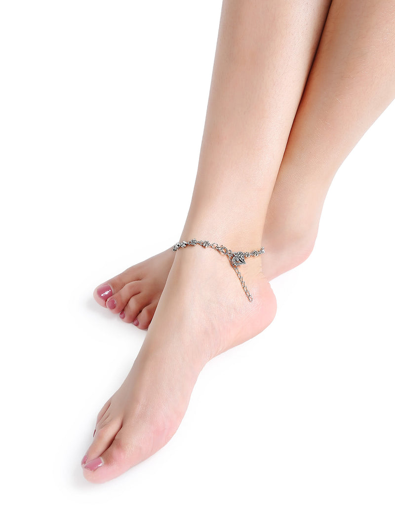 Silver Floral Chain Delicate Anklet