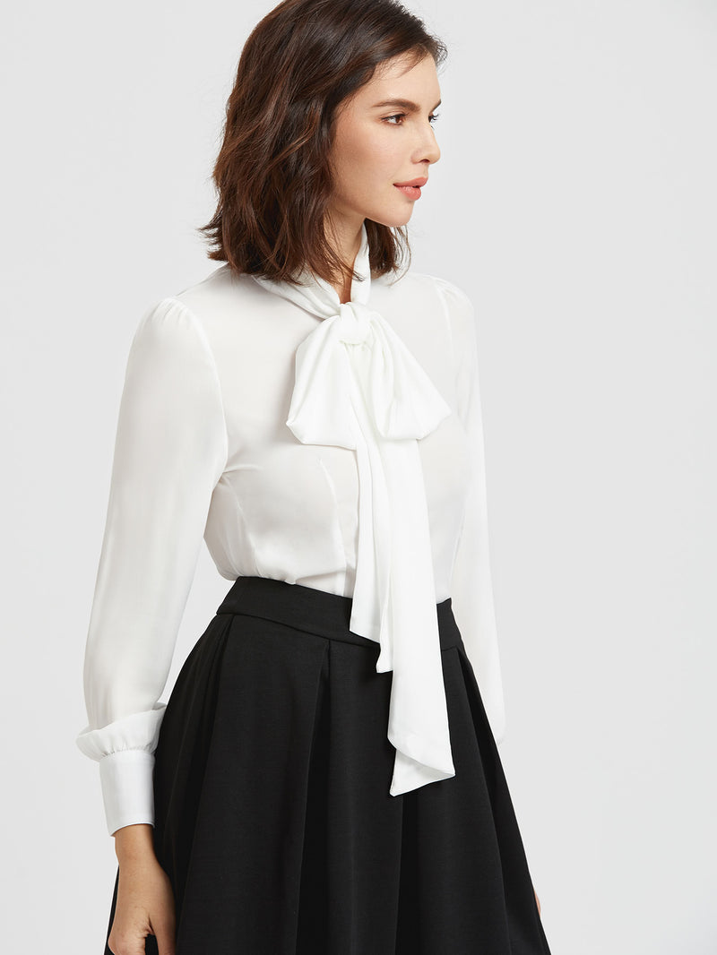 Self Tie Neck Cuffded Sleeves Curved Hem Blouse
