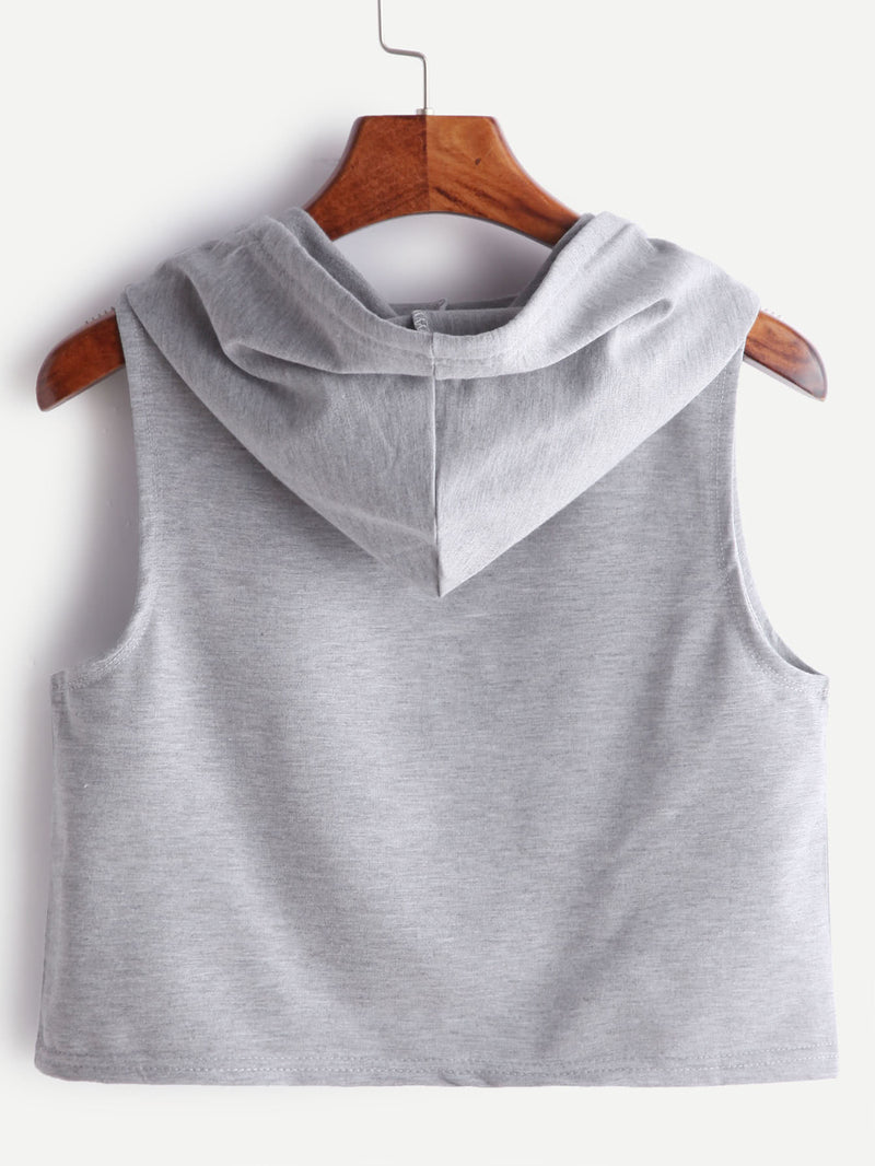 Heather Grey Hooded Letter Print Crop Tank Top