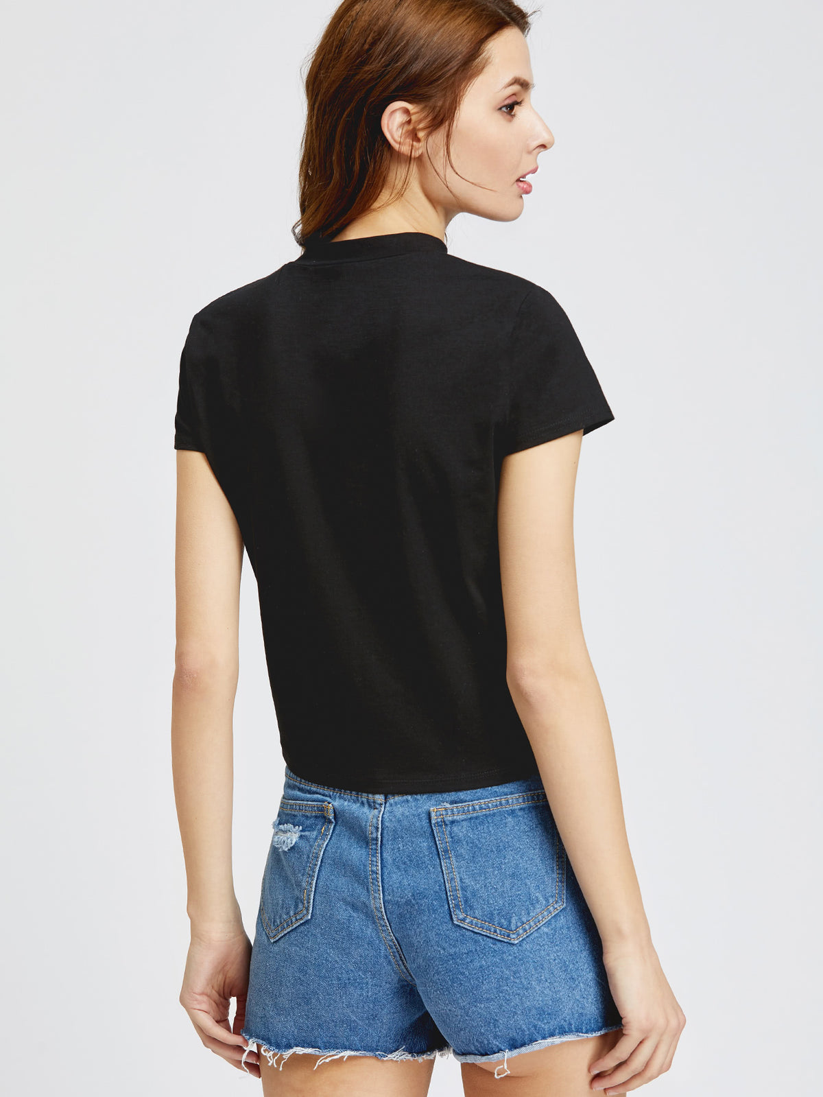 Cutout Choker Neck Rose Patch Knot T-shirt