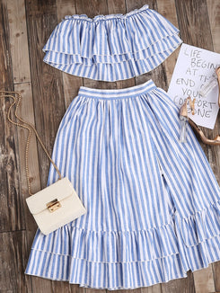 Striped Flyaway Bandeau Top And Ruffle Skort Set