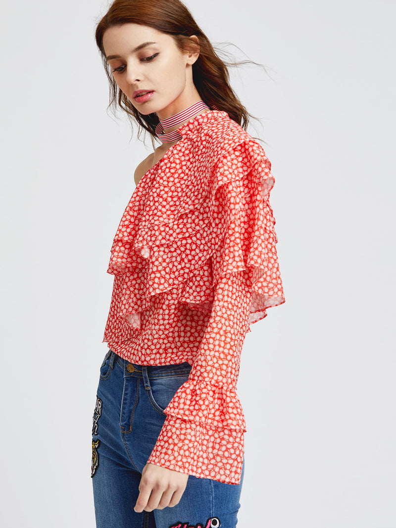 One Shoulder Dot Print Layered Ruffle Top