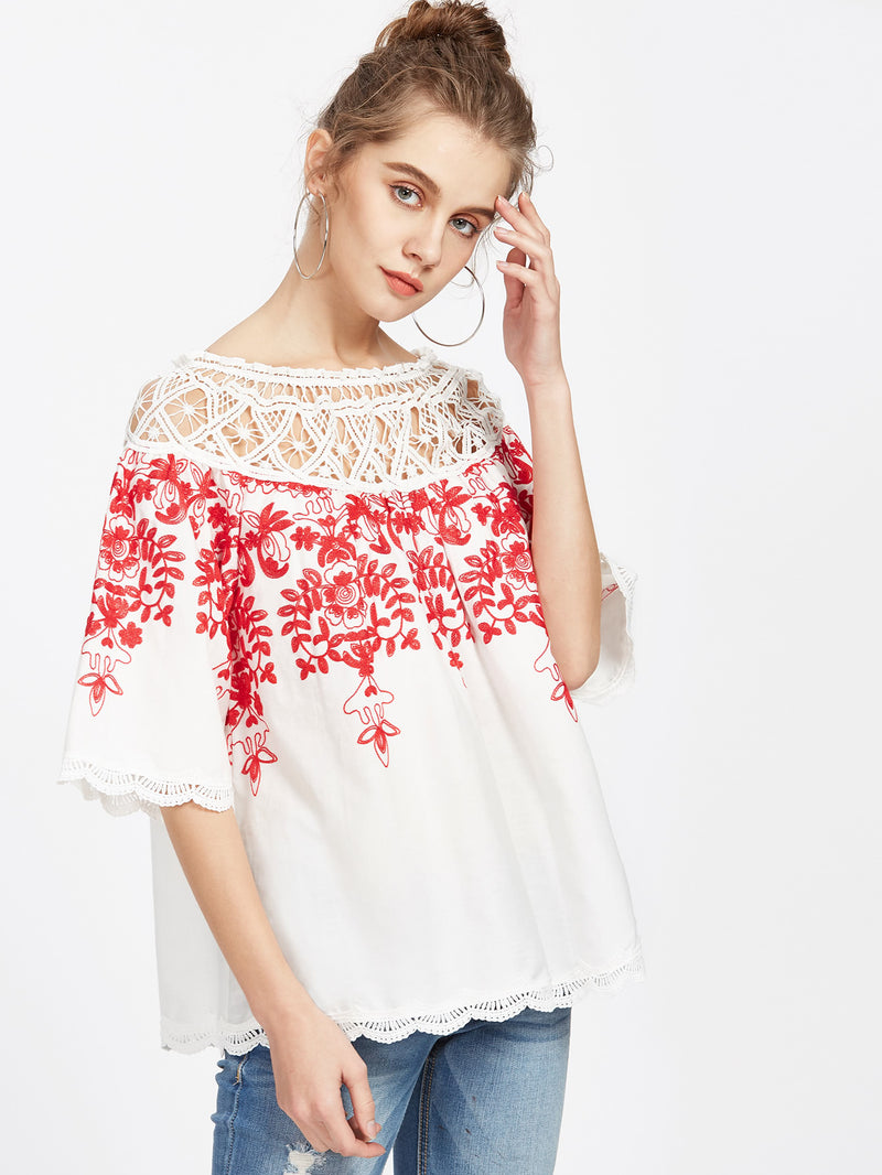 Multiway Crochet Neck Vine Embroidered Top