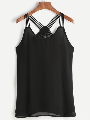 Strappy Back Layered Chiffon Cami Top