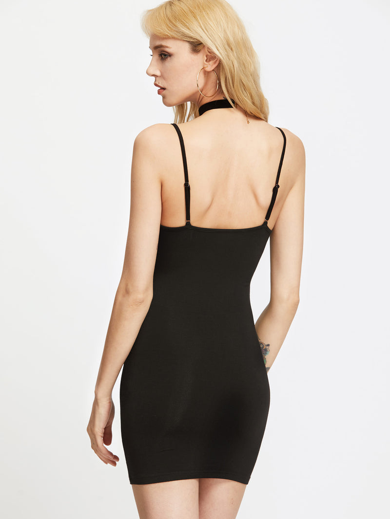 Adjustable Strap Jersey Cami Bodycon Dress