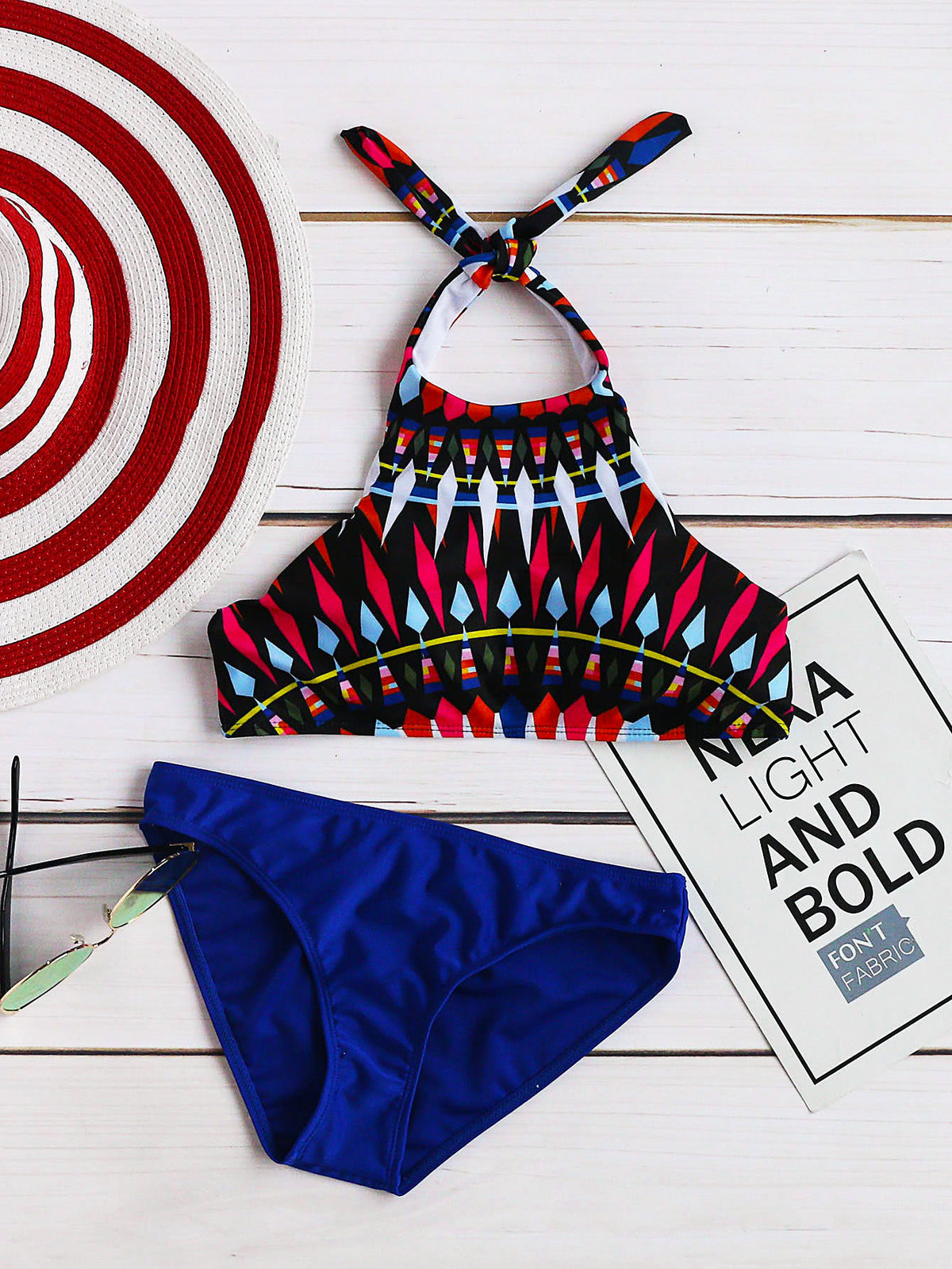 Colorful Geometric Print Halter Mix & Match Bikini Set