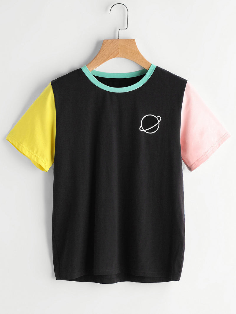 Color Block Saturn Logo Tee
