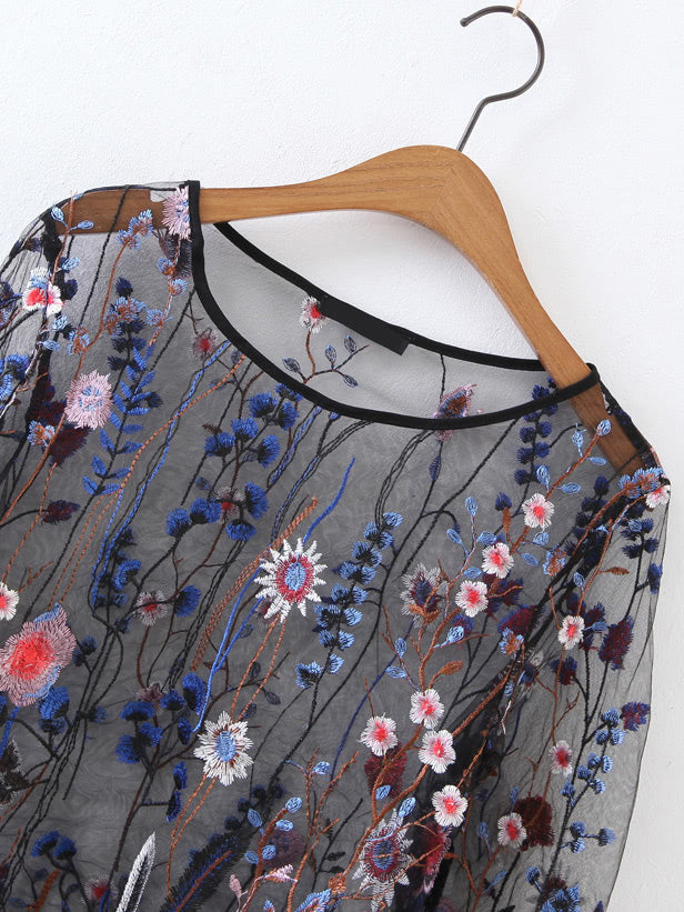 Embroidery Sheer Mesh Top