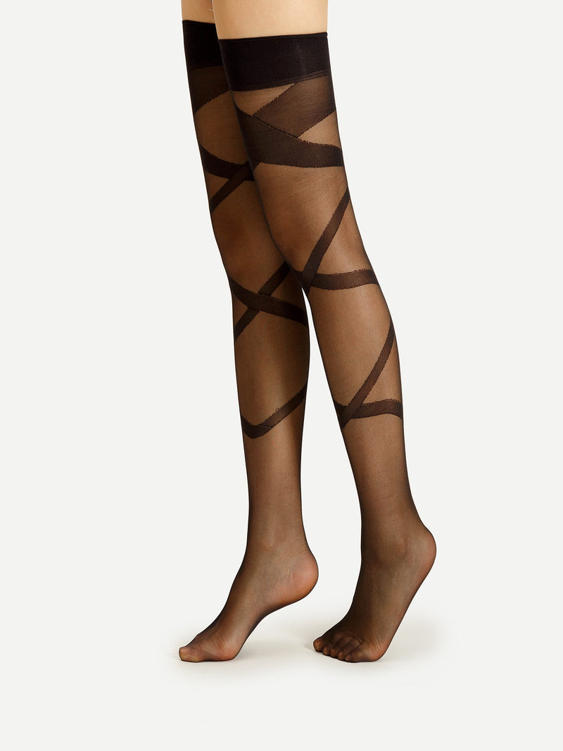Criss Cross Pattern Thigh High Socks