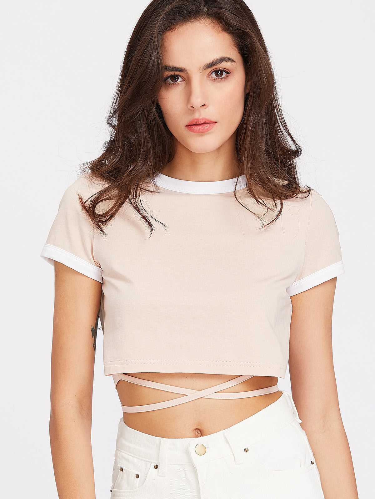 Crop Ringer Tee With Wrap Detail