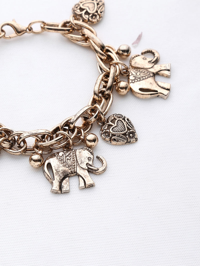 Elephant And Heart Shaped Charm Bracelet