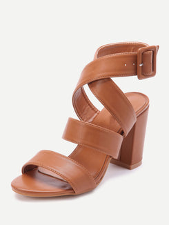 PU Criss Cross Block Heels With Buckle