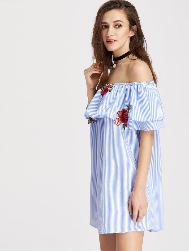 Embroidered Rose Patch Striped Flounce Bardot Dress