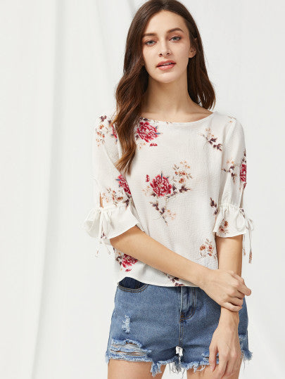 Bell Sleeve Tied V Back Flower Print Top