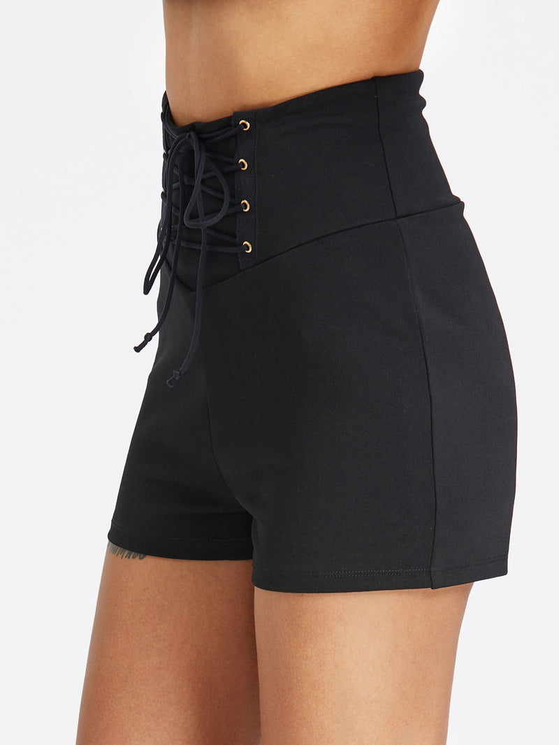 Lace Up Wide Waistband Zip Back Tailored Shorts