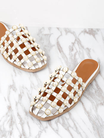 Faux Pearl Embellished Creux Sliders