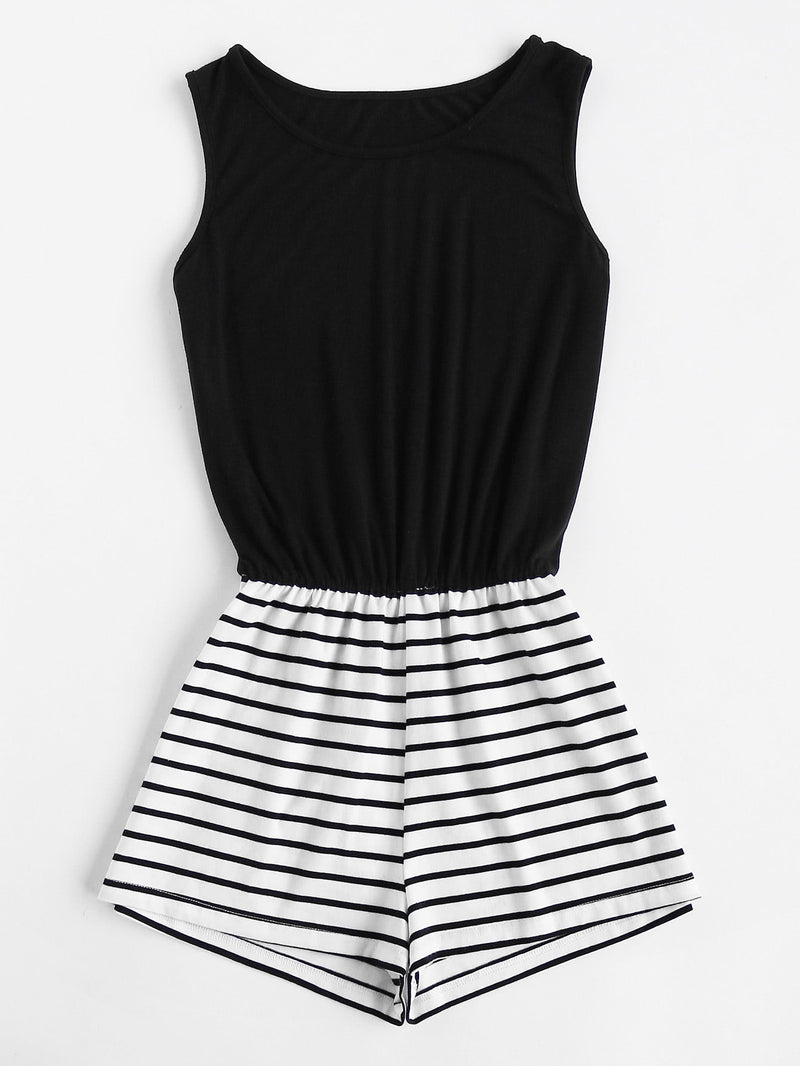Striped Mix And Match Blouson Romper