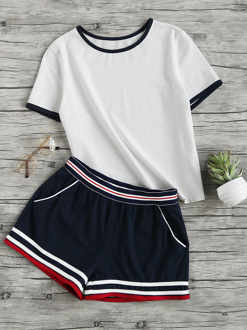 Ringer Tee And Striped Waist Binding Shorts Set