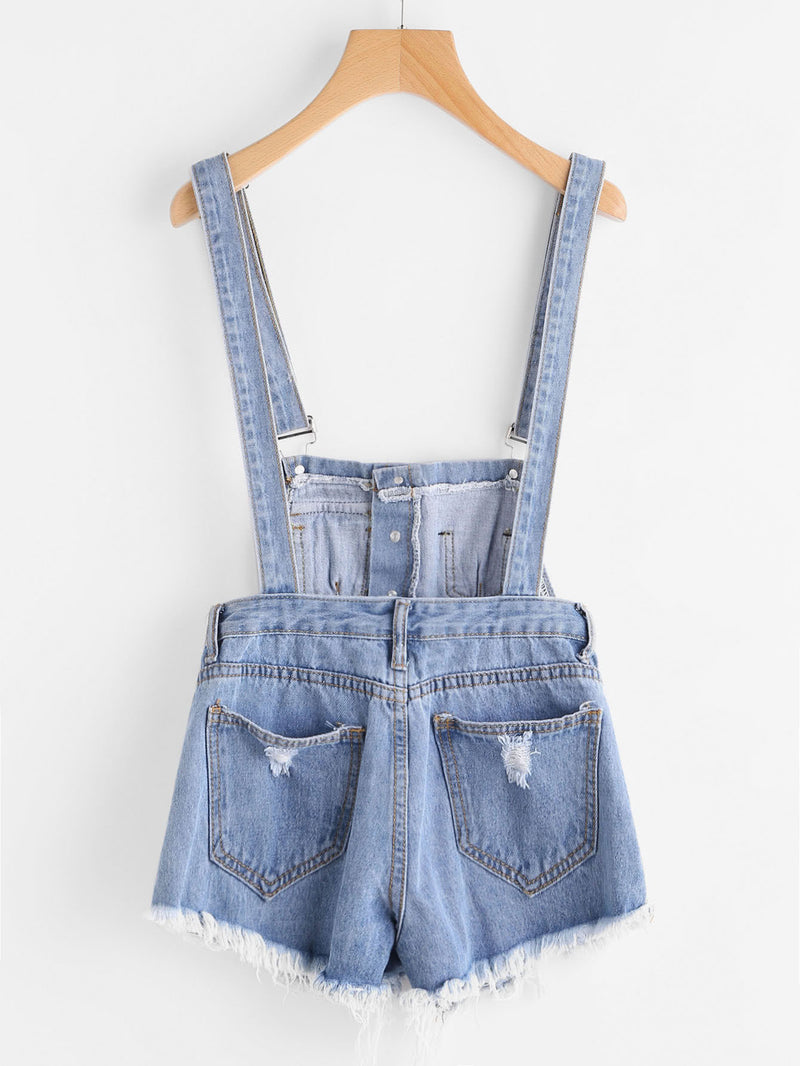 Button Front Ripped Denim Overalls