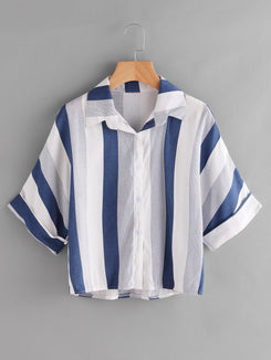 Contrast Striped High Low Cuffed Shirt