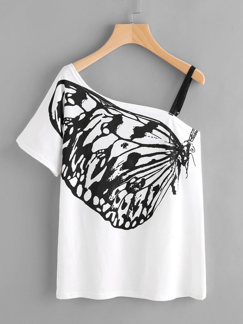 Butterfly Print Oblique Shoulder Tee With Strap Detail