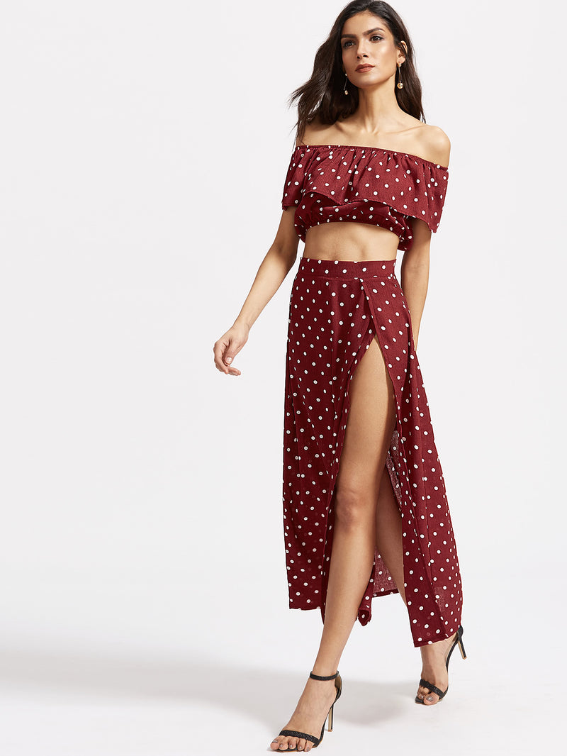 Textured Dot Ruffle Crop Top With Split Skirt