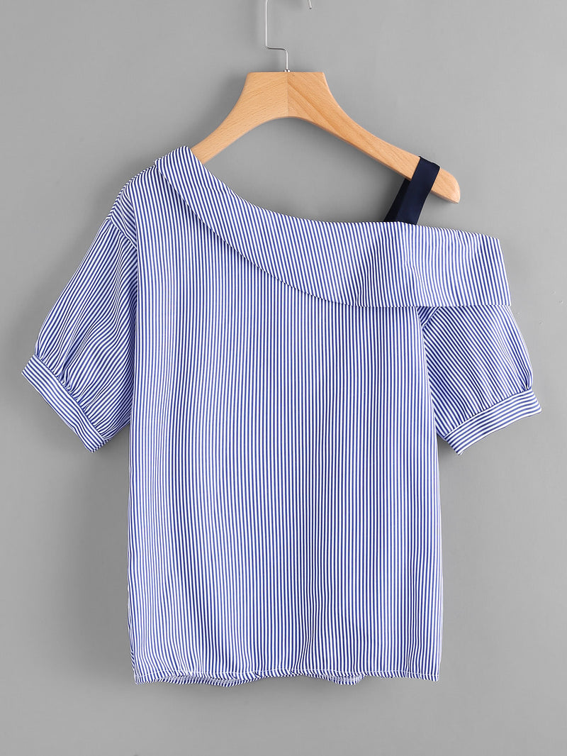 Asymmetric Cold Shoulder Striped Top With Embroidered Patch