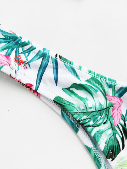 Tropical Print High Leg Self Tie Bikini Set