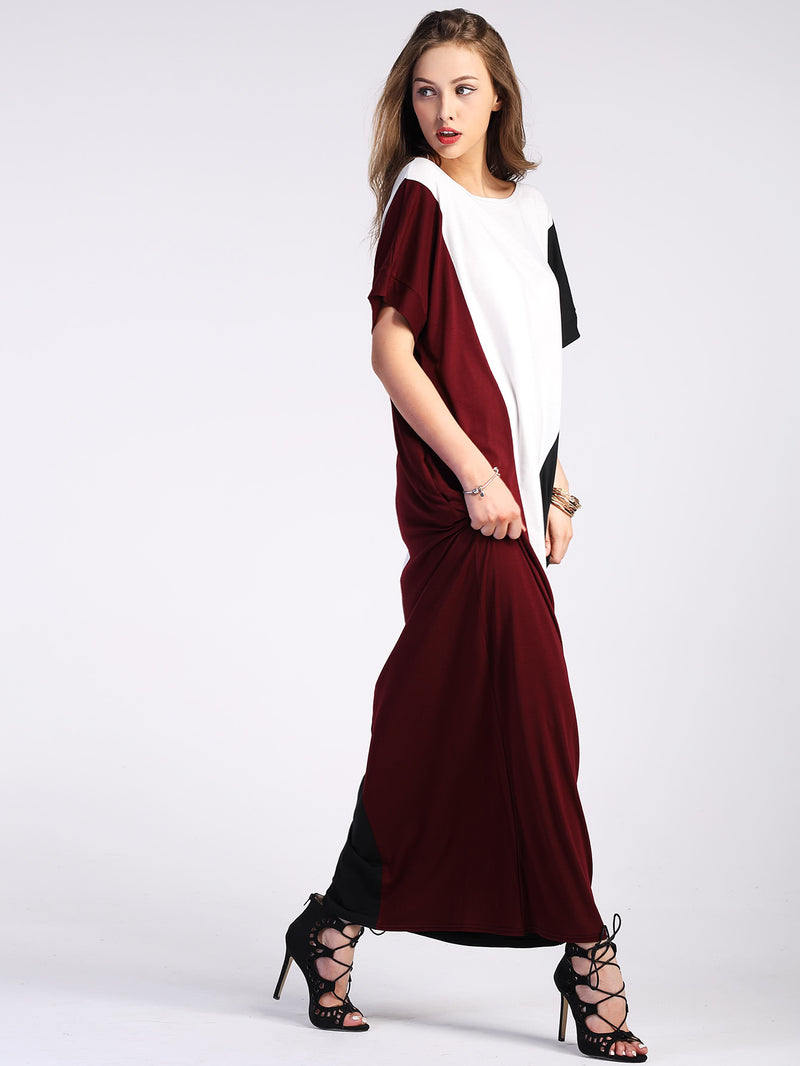 Color Block Full Length Dress With Pockets