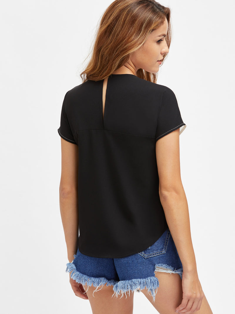 Keyhole Back Dolphin Hem Cut And Sew Top